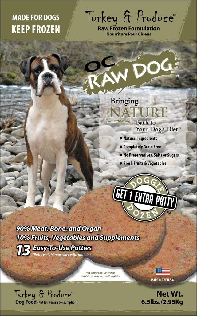 OC Raw Dog Turkey & Produce Patties Raw Frozen Dog Food