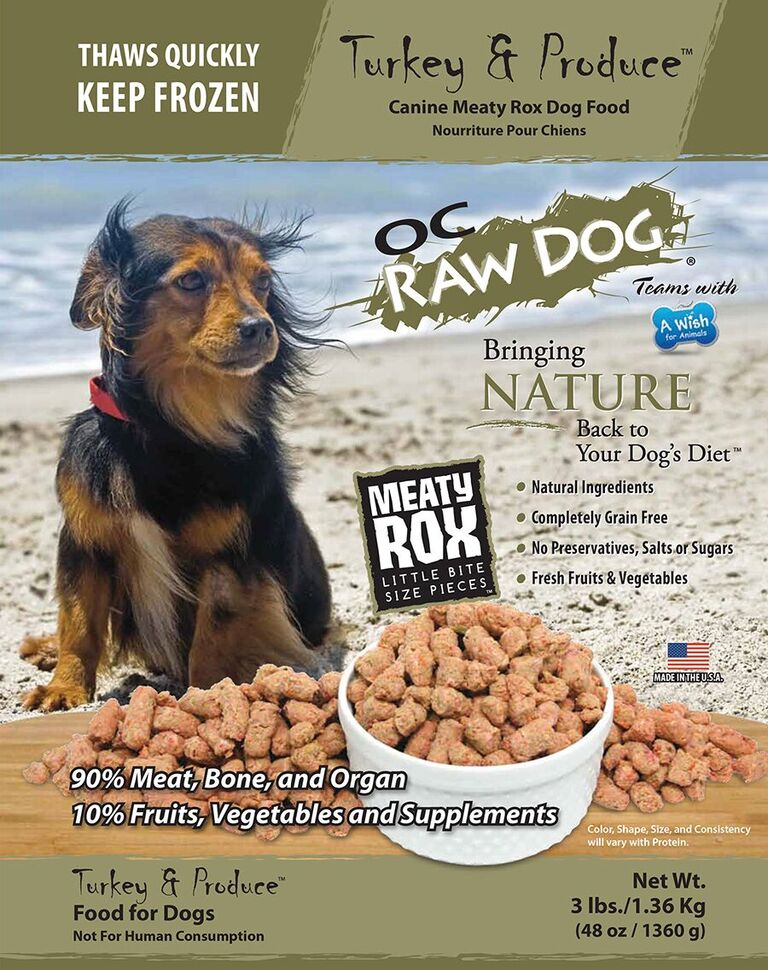 OC Raw Dog Turkey & Produce Meaty Rox Raw Frozen Dog Food, 3-lb