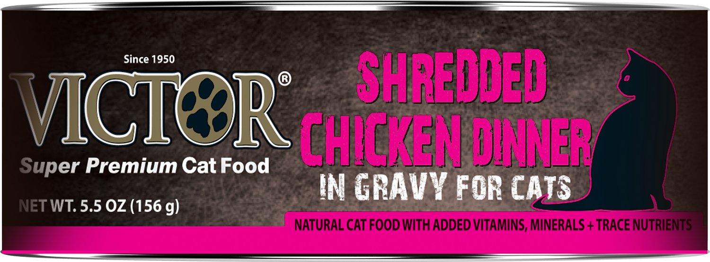 Victor Shredded Chicken Dinner in Gravy Canned Cat Food, 5.5-oz