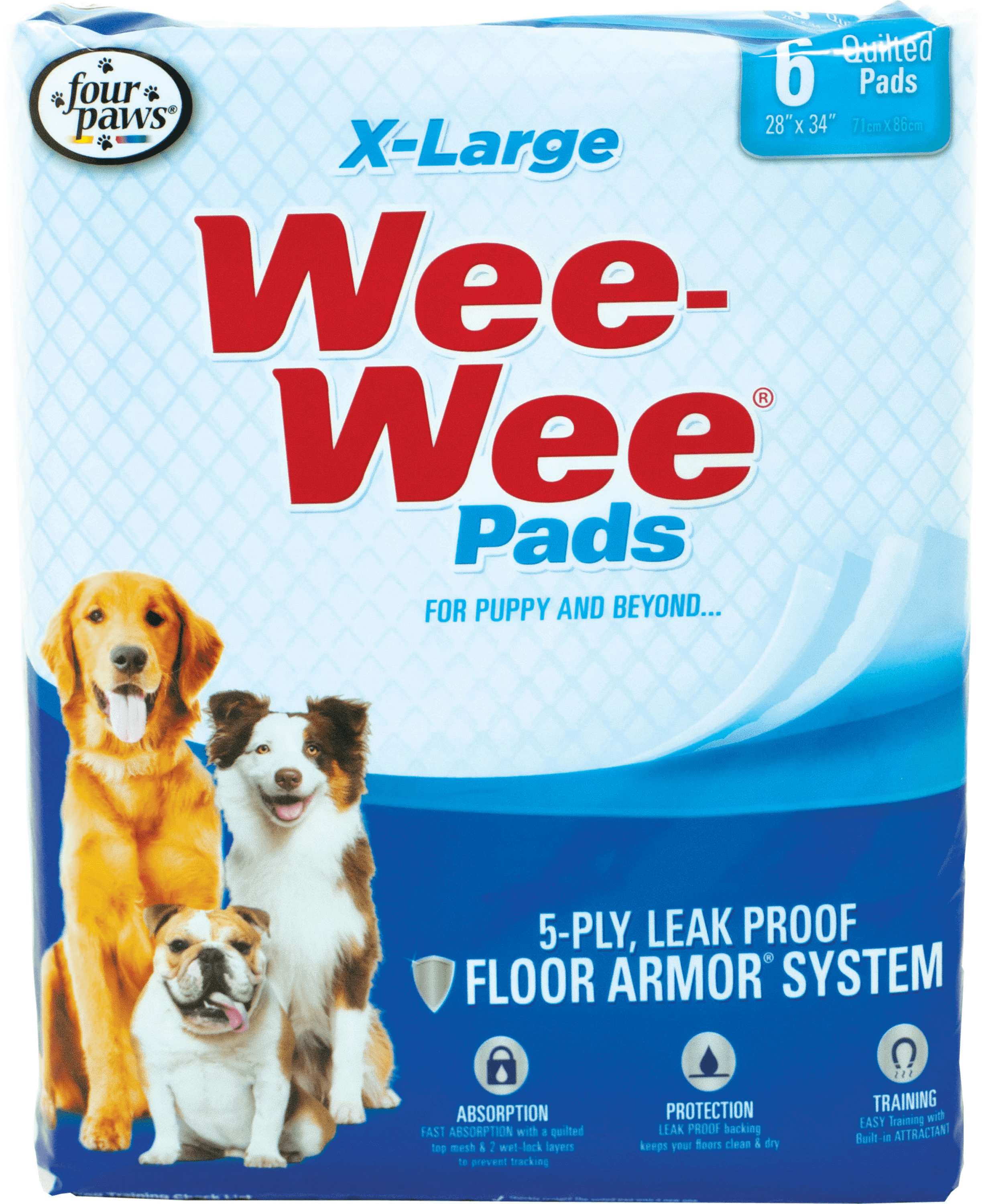 "Wee-Wee Extra Large Pads, 6-count, 28"" x 34"""
