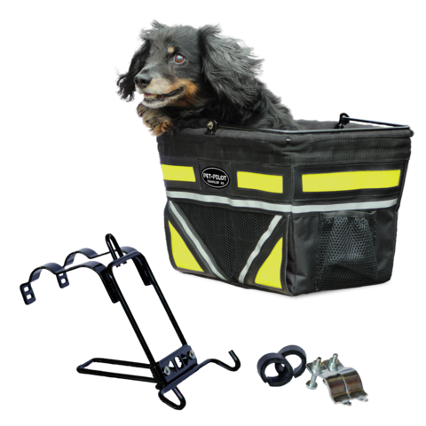 Travelin K9 2018 Pet-Pilot Bike Basket for Dogs & Cats, Neon Yellow